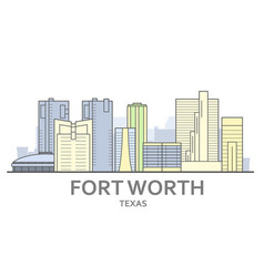 fort worth skyline texas - panorama fort worth vector image