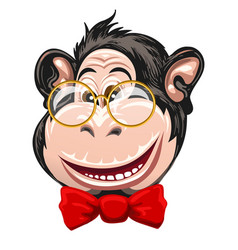 funny monkey with glasses and bow tie vector image