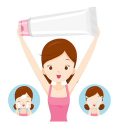 Girl carrying packaging and cleaning face vector
