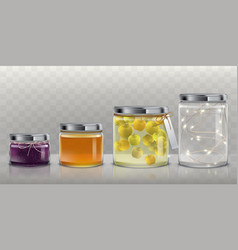 Glass jars with food and garland set vector