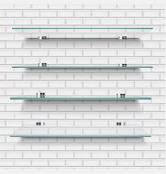Glass shelves brick background vector