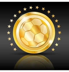 Gold football coin Sport background vector