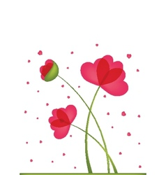 Greeting card bouquet flowers in a heart-shaped vector
