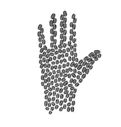 hand silhouette made coffee beans sketch vector image