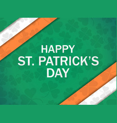 happy patricks day greeting card with clover vector image