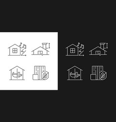 home construction safety linear icons set vector image