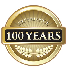 Hundred Years Experience Gold vector image
