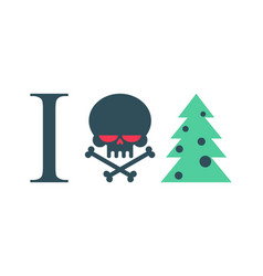 I hate new year christmas tree and skull vector