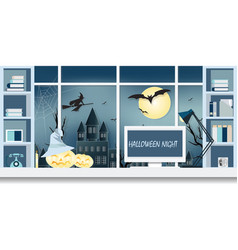 interior workplace on halloween vector image