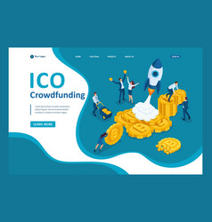 isometric ico crowdfunding cryptocurrency business vector image