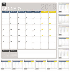 Italian calendar 2019 vector