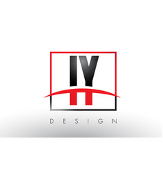 iy i y logo letters with red and black colors and vector image