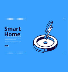 landing page smart home with lightning icon vector image