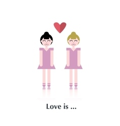 Lesbian couple in love vector