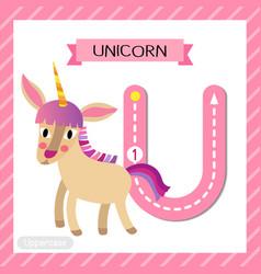 Letter u uppercase tracing unicorn vector