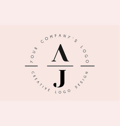 Letters aj a j logo set as a stamp or personal vector