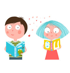 little boy and girl reading book vector image