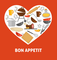 Love cooking poster with culinary equipment and vector