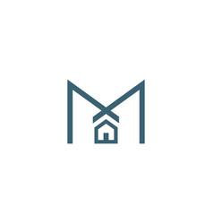 m house logo design templateletter symbol vector image