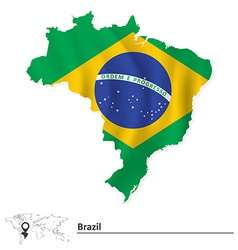 Map of Brazil with flag vector