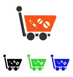 Medication shopping cart flat icon vector