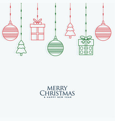 merry christmas decorative elements hanging vector image
