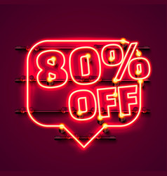 message neon 80 off text banner night sign vector image