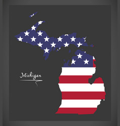 Michigan map with american national flag vector