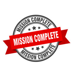 Mission complete label mission complete red band vector