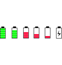 Mobile battery icon set vector
