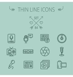 Mutimedia thin line icon set vector