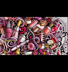 Nail salon hand drawn doodle banner cartoon vector