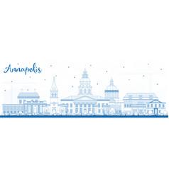 Outline annapolis maryland city skyline with blue vector