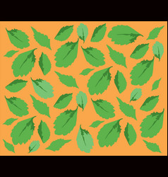 Pattern with green leaves on orange backround vector