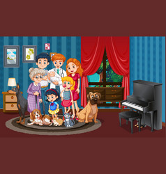 Picture family in house vector