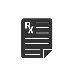 Prescription icon in flat style rx document on vector