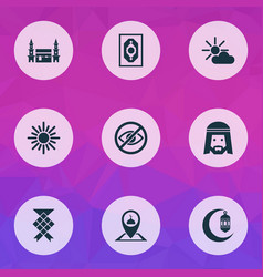 Religion icons set with crescent muslim mushaf vector