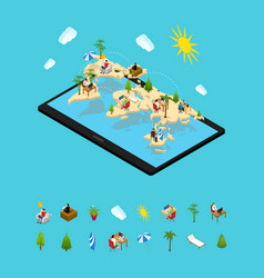 remote managing concept and elements 3d isometric vector image