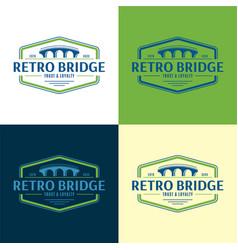 Retro bridge logo vector
