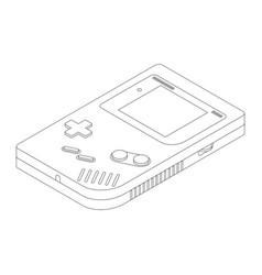 Retro portable game console in isometric view vector