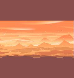 Sandstorm on mars landscape game background vector