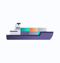 sea oil tanker cargo container ship icon vector image