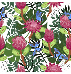 Seamless pattern with proteas and butterflies vector