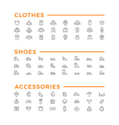 set line icons clothes shoes and accessories vector image