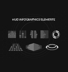 Set of black and white hud infographic elements vector