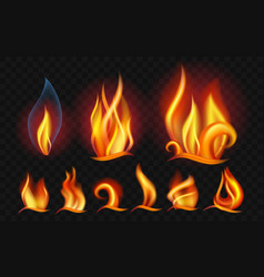 Set of flames - modern realistic isolated vector