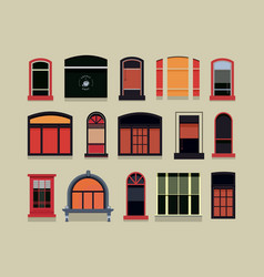 Set of plastic wooden windows vector