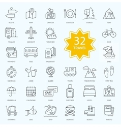 Set of Travel Icon Linear Design vector