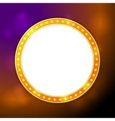 Shining blank circle retro light banner vector