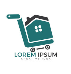 shopping cart with house logo design vector image